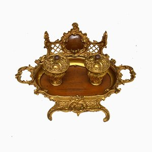 Antique French Gilt Bronze & Walnut Inkwell Set