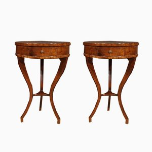 French Mahogany and Beech Nightstands, 1950s, Set of 2