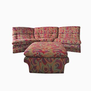 American Abstract Patterned Modular Sofa and Footstool Set from Preview, 1980s