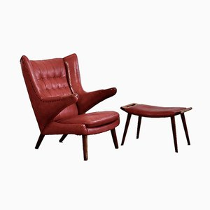 Red Leather Papa Bear Armchair and Footstool Set by Hans J. Wegner for A.P. Stolen, 1950s