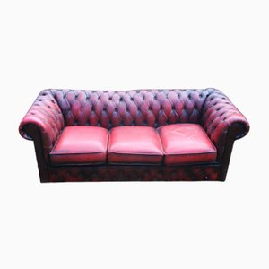 Red Leather 3-Seat Chesterfield Button Back Sofa, 1960s