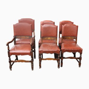 Oak Dining Chairs with Brown Leather Seats, 1920s, Set of 6