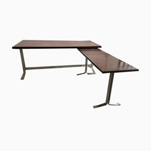 Mid-Century Italian Chromed Metal and Veneer Top Desk by Gianni Moscatelli for Formanova, 1960s