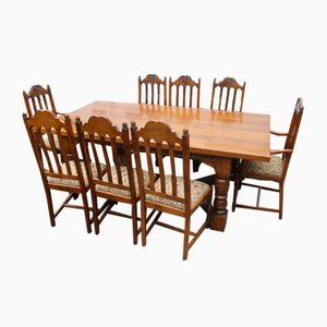 Large Oak Dining Table & Chairs Set, 1960s, Set of 9