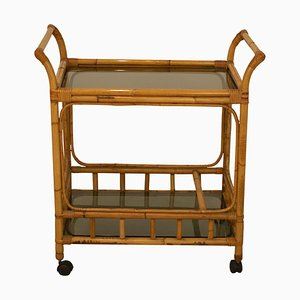 Vintage Spanish Bamboo and Glass Bar Trolley, 1970s