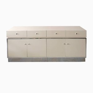 Vintage Off-White Lacquer and Chromed Metal Sideboard from Vanleigh