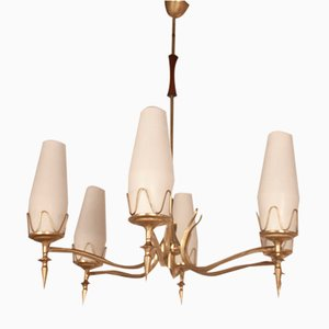 Mid-Century Italian Polished Brass and White Opaline Glass Chandelier in the Style of Stilnovo, 1950s