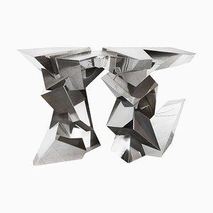 Table Console en Plaqué Nickel et Laiton Plaqué par Juan & Paloma Garrido pour Damian Garrido, 2010s