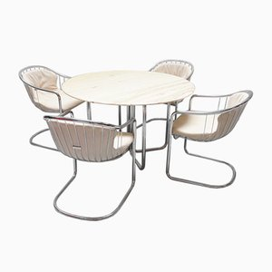 Mid-Century Dining Table and Chairs Set by Gastone Rinaldi for Rima, 1970s