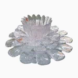 Large Clear Flower-Shaped Bowls from Holmegaard, 1970s, Set of 4