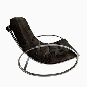 Vintage Ellipse Chrome-Plated Metal Rocking Chair by Renato Zevi for Selig, 1970s