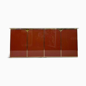 Red Lacquered Sideboard with Marble Top from Belgo Chrom / Dewulf Selection, 1970s