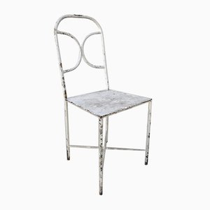 Vintage Patinated Metal Side Chairs, Set of 2