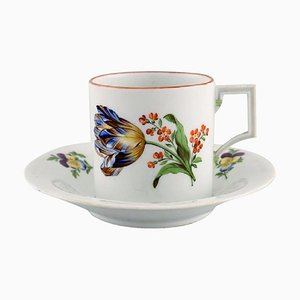 Antique Meissen Chocolate Cup with Saucer in Hand-Painted Porcelain