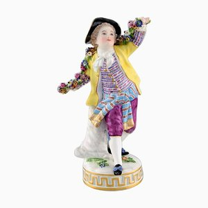 Antique Meissen Boy with Flowers Figurine in Hand-Painted Porcelain