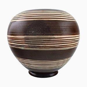 Large Glazed Stoneware Vase in Modern Striped Design from Kähler, 1930s