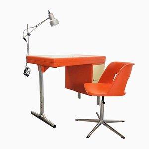 Space Age Italian Orange Plastic Desk & Chair, Set of 2