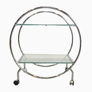 Vintage Chrome and Glass Hip Tube Frame Trolley, 1960s