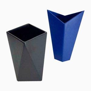 Dutch Facet Black and Blue Ceramic Pottery Vases, Set of 2