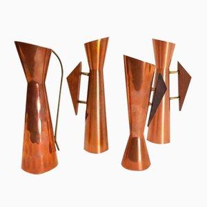 Vintage Danish Copper and Teak Vases, Set of 4