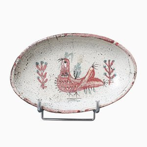 French Ceramic Rooster Motif Tray by Gustave Reynaud for Le Mûrier, 1950s
