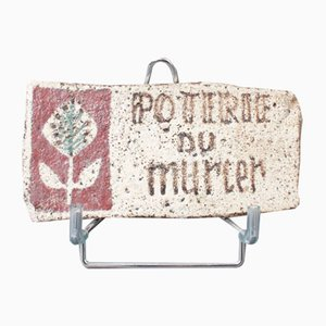 Poterie Du Mûrier Plaque with Mulberry Leaf Logo by Gustave Reynaud, 1950s