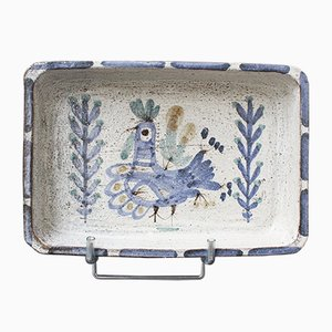 Decorative Ceramic Rectangular Dish by Gustave Reynaud for Le Mûrier, 1950s