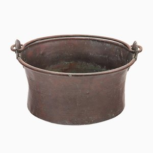 Large 19th Century Age Patinated Copper Swing Handle Planter Log Bin