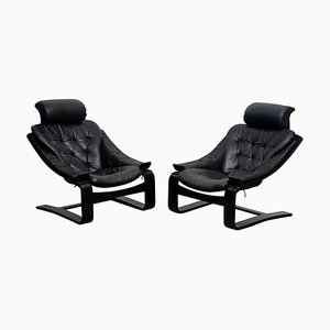 Leather Kroken Lounge Chairs by Ake Fribytter for Nelo, Sweden, 1974, Set of 2