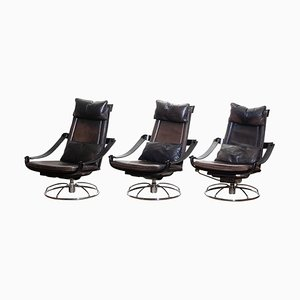Leather Swivel Relax Chairs by Ake Fribytter for Nelo, Sweden, 1970s, Set of 3