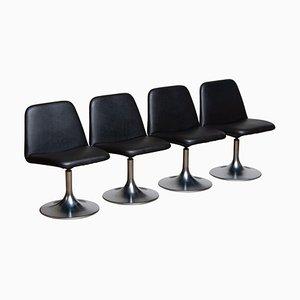 Black Vinga Swivel Chairs by Börje Johanson for Markaryd, Sweden, 1970s, Set of 4