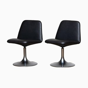 Black Vinga Swivel Slipper Chairs by Börje Johanson for Markaryd, 1970s, Set of 2