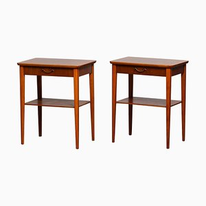 Scandinavian Slim Mahogany Nightstands with Brass Handles, 1960s, Set of 2