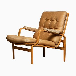 Beech and Leather Lounge Chair in Camel by Bruno Mathsson for Dux, Sweden, 1960s