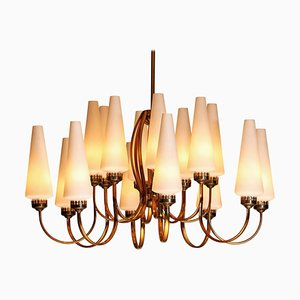 Large Brass Chandelier with Large White Murano Vases by Stilnovo, Italy, 1950s