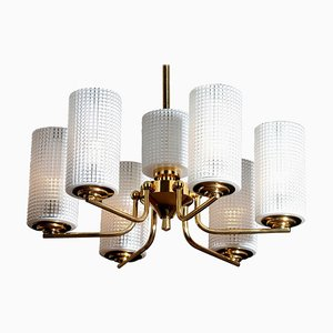 Brass and Glass Chandelier or Pendant by Carl Fagerlund for Orrefors, Sweden, 1960s