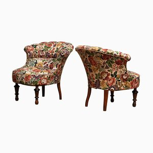 19th Century French Napoleon III Floral Emma Slipper Chairs, Set of 2