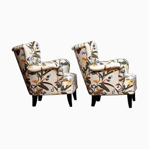 Lounge Chairs with Josef Frank Fabric by Ilmari Lappalainen for Asko, 1950s, Set of 2