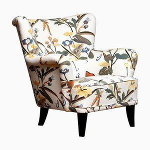 Floral Print Model Lalla Lounge Chair by Ilmari Lappalainen for Asko, 1950s