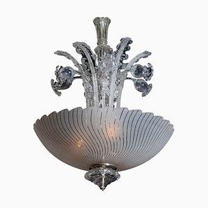 Art Nouveau Style Crystal Art Glass Chandelier by Fritz Kurz for Orrefors, Sweden, 1940s