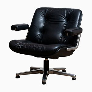 Black Leather 7065 Swivel Chair by Martin Stoll for Giroflex Stoll Mdl, 1960s