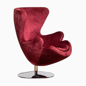 Swivel Lounge Egg Chair on Chrome Stand Colored in Bordeaux Red Baby Roy, 1970s