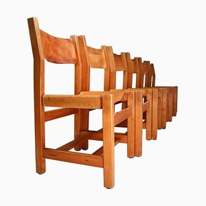 French Cognac Leather Chairs in Elm, 1960s, Set of 6