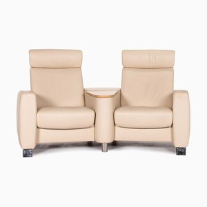 Beige Leather Arion Home Theater Function Sofa from Stressless