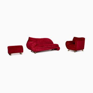 Red Velvet Fabric Gaudi Sofa Set from Bretz, Set of 3