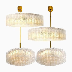Glass and Brass Light Fixtures by Doria Leuchten Germany, 1960s, Set of 4