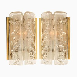 Structured Ice Glass and Brass Wall Sconces by Doria Leuchten Germany, 1960s, Set of 2