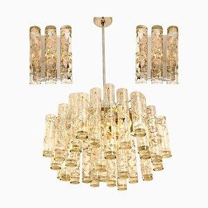 Leuchten aus Glas & Chrom von Doria, 1960er, 3er Set