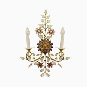 Vintage Austrian Crystal Flower Sconce