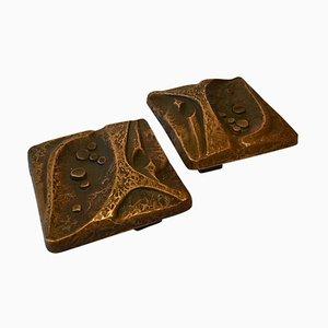Quadratische Bronze Türgriffe für Doppeltüren mit Relief Design in Natur, 2er Set